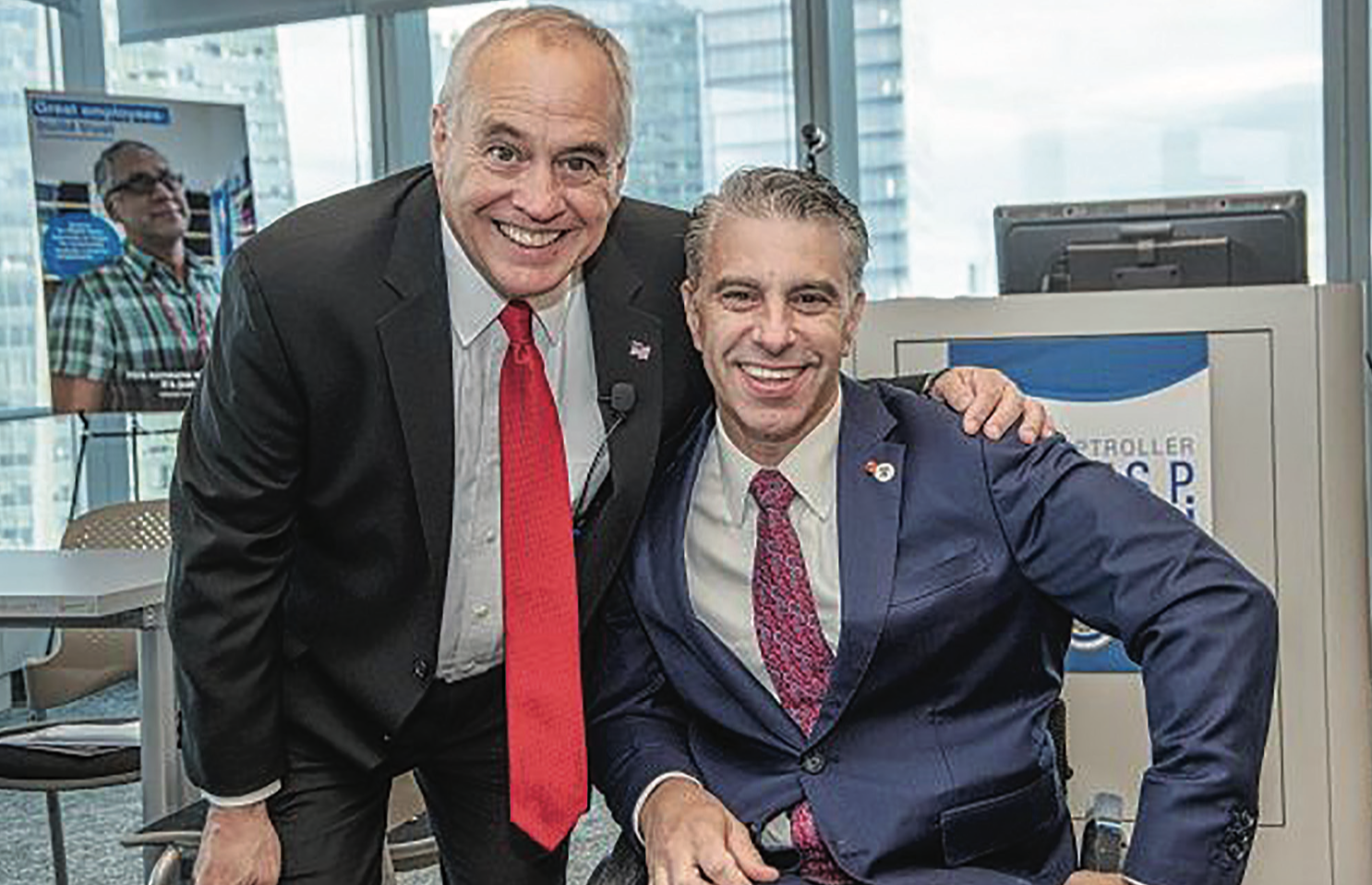 New York state Comptroller Thomas DiNapoli, left, with New York City Mayor's Office for People with Disabilities Commissioner Victor Calise at employment event